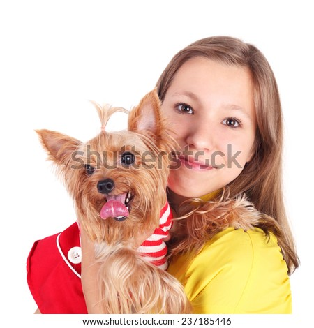 pretty young girl with her cute little dog
