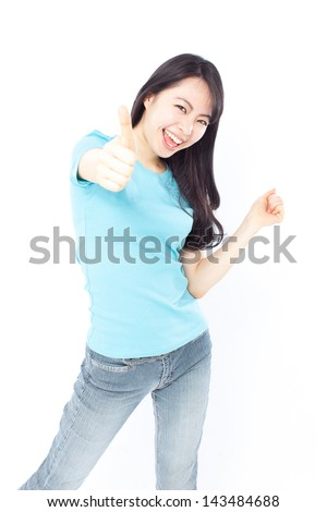 pretty young girl with thumbs up, isolated on white background