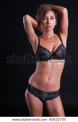 Pretty young Israeli woman in black lingerie