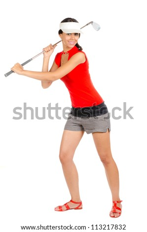 Pretty young lady golfer with golf club isolated on white background - stock photo