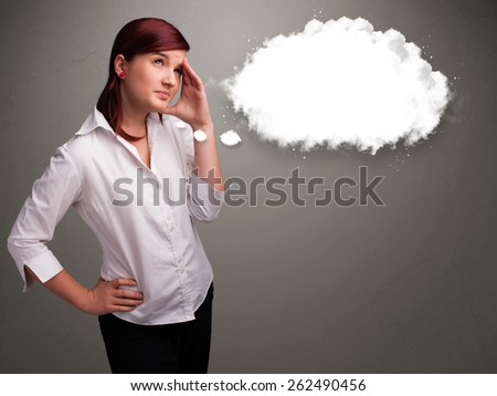 Pretty young lady thinking about cloud speech or thought bubble with copy space - stock photo