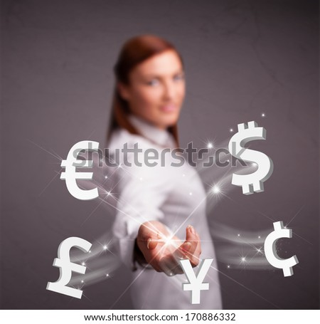 Pretty young lady throwing currency icons - stock photo