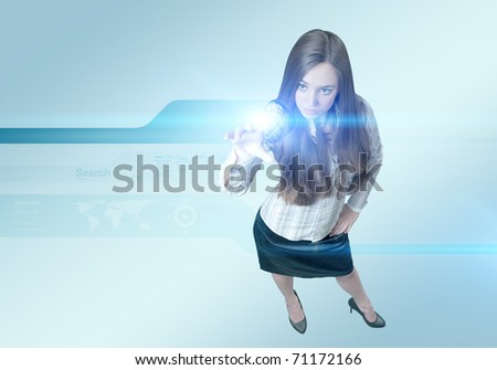 Pretty young lady using new technologies (outstanding business people in interiors / interfaces series) - stock photo