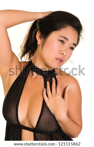 Pretty young Laotian woman in brown lingerie - stock photo
