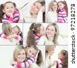 Pretty young mom and her cute little daughter, collage - stock photo