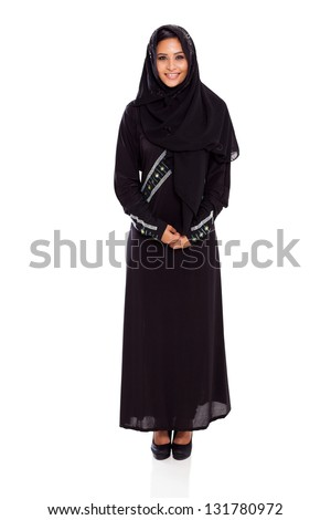 pretty young muslim woman full length studio portrait on white - stock photo