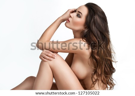pretty young naked woman on white background - stock photo