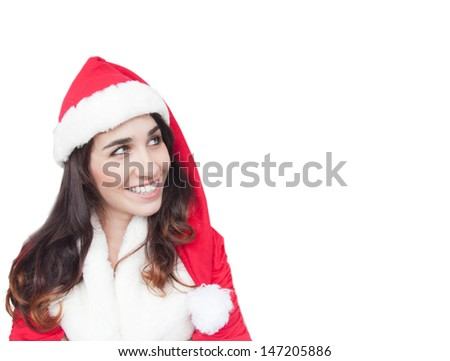 Pretty Young Santa Girl On The white Background