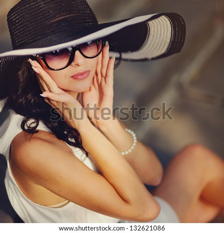 pretty young sexy summer girl wearing a hat - stock photo