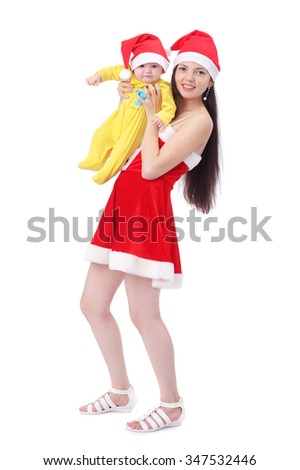 pretty young Snow Maiden with her cute little Christmas baby - stock photo
