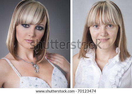 pretty young woman before and after makeover - stock photo