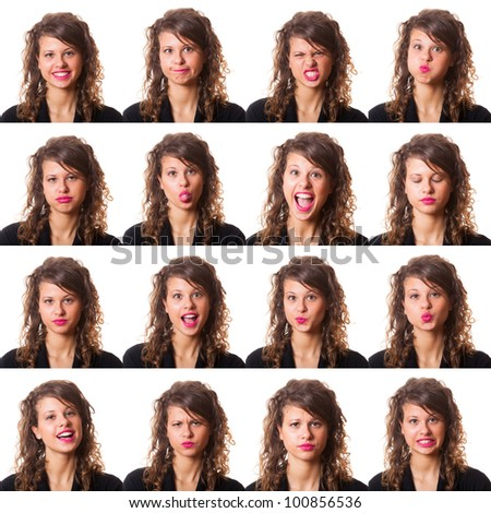 Pretty Young Woman Collection of Expressions - stock photo