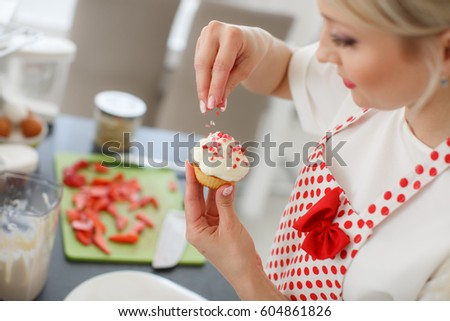Woman Decorating Cupcakes happy smile woman eating cake woman stock photo 258415673