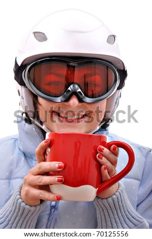 Pretty young woman drinking hot tea - stock photo