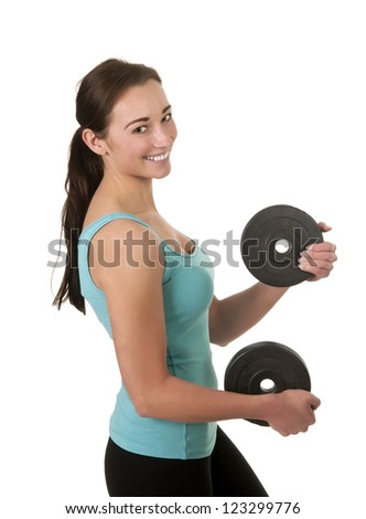pretty young woman exercising with dumbbells