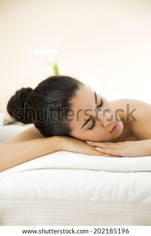 Pretty young woman having a massage