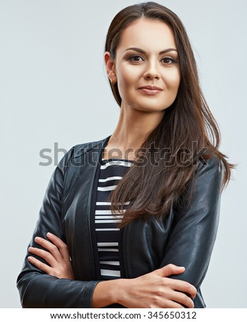 Pretty young woman in leather jacket portrait. Casual teenager style. - stock photo