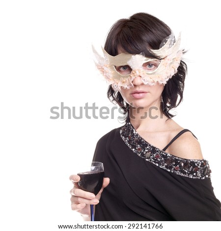 pretty young woman in the carnival mask