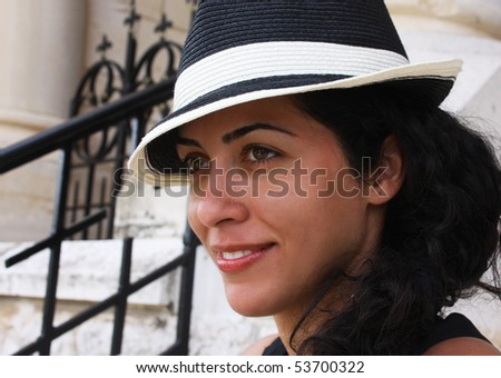 pretty young woman in the hat