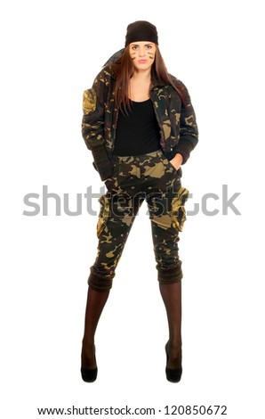 Pretty young woman in uniform. Isolated on white - stock photo