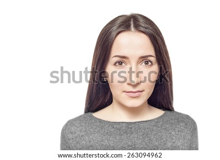 Pretty young woman, isolated on a white background. - stock photo
