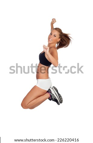 Pretty young woman jumping isolated on white background - stock photo