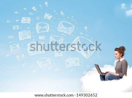 Pretty young woman sitting in cloud with laptop, sketched mails concept - stock photo