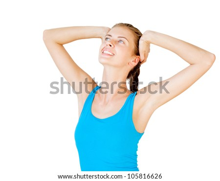 pretty young woman stretching isolated on white