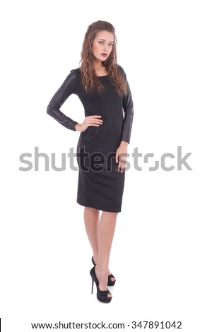 pretty young woman wearing dress with the pockets and leather sleeves