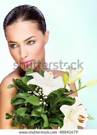 pretty young woman with flowers