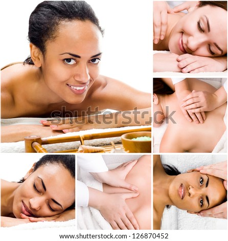 Pretty young women relaxing in the spa salon. collage - stock photo