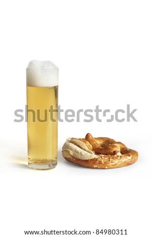 Pretzel and a Koelsch - stock photo