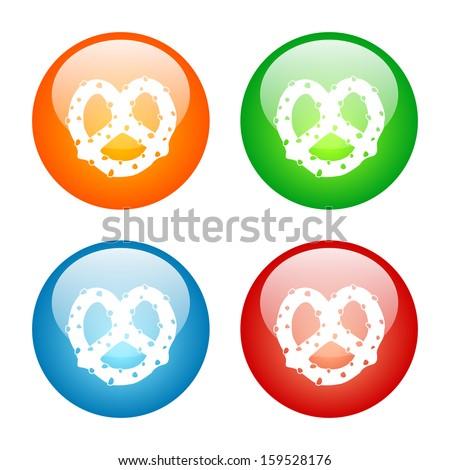 Pretzel Icon Glass Button Icon Set. Raster version. - stock photo