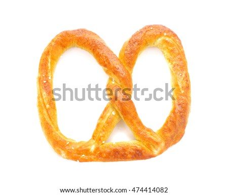 pretzel with salt isolated on white background.