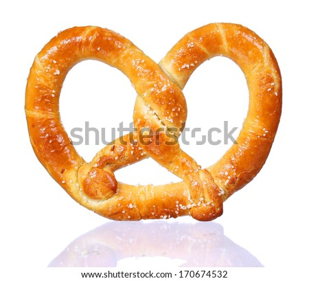 pretzel with shadow isolated  on white background. salt and soft  - stock photo