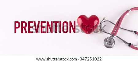 PREVENTION concept with stethoscope and heart shape - stock photo