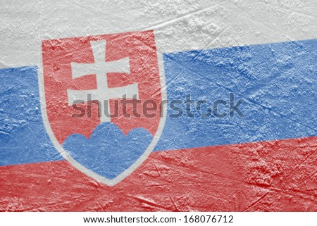 Preview Slovak flag on a hockey rink. Texture, background - stock photo