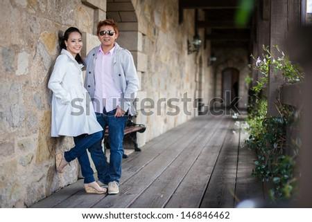 prewedding photo of asian couple at napa valley - stock photo