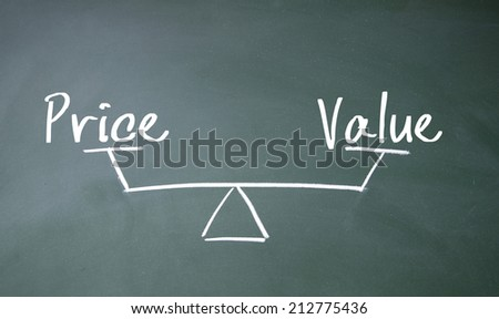 price and value balance sign - stock photo