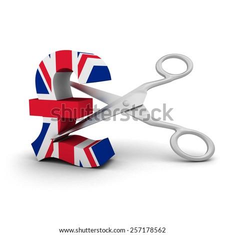 Price Cut Concept - UK Flag Pound Symbol with Scissors - stock photo