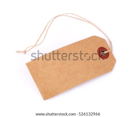 Price label note with rope isolated on white background