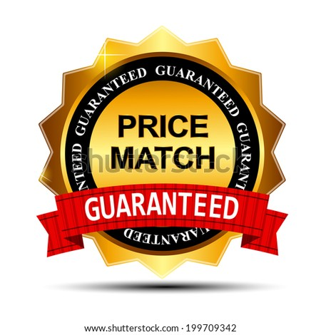Price Match Guarantee Gold Label Sign Template  Illustration - stock photo
