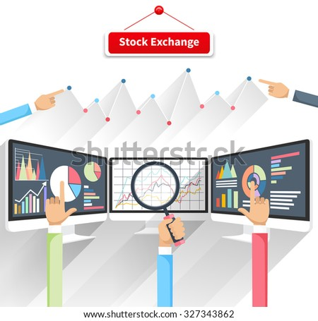 Price movement. Stock exchange rates on monitor. Profit graph diagram. Electronic stock numbers. Profit gain. Business stock exchange. Live online screen. Concept in flat design. Raster version - stock photo