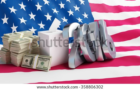Price of the USA elections in 2016 criminal penalties for bribing voters.3d Illustrations