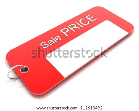 Price tag 3d with silver ring - stock photo