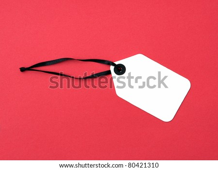 Price Tag label isolated on red background - stock photo