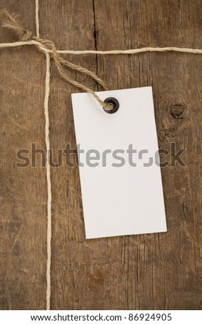 price tag on wood background texture