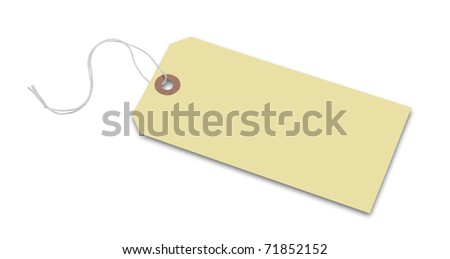 Price tag or address label in tan with string, isolated with clipping path