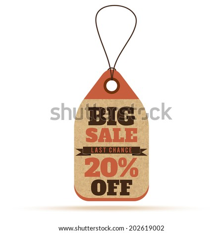 Price tags in vintage style. Big sale tags, labels with text and number percent. Raster version - stock photo