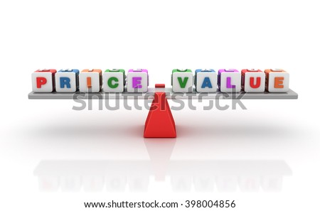 Price Value Words Balancing on a Seesaw - Balance Concept - High Quality 3D Render    - stock photo